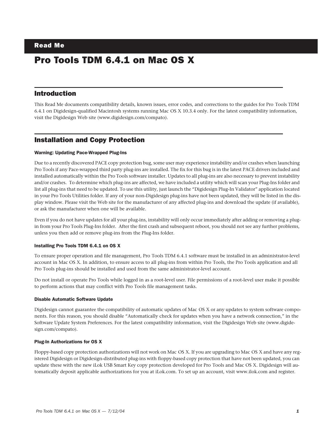 Pro Tools TDM 6 4 1 Read Me | manualzz com