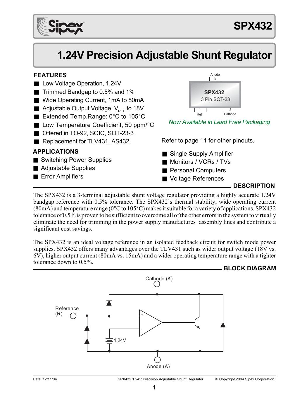 Spx432 124v Precision Adjustable Shunt Regulator Switched Mode Power Supply Block Diagram