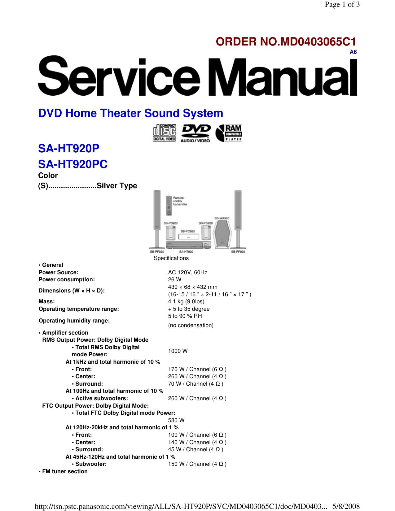 ORDER NO MD0403065C1 DVD Home Theater Sound System SA | manualzz com