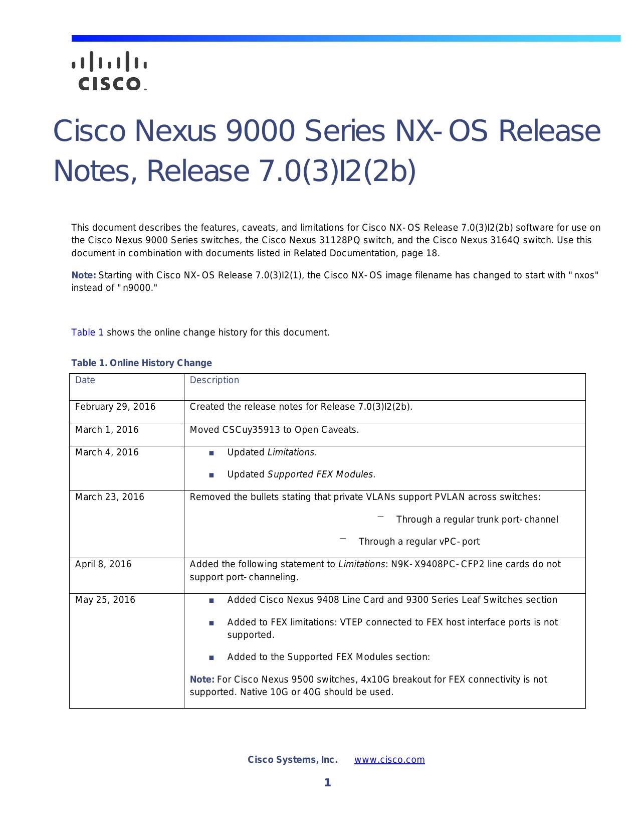 Cisco Nexus 9000 Series NX-OS Release Notes, Release 7 0(3