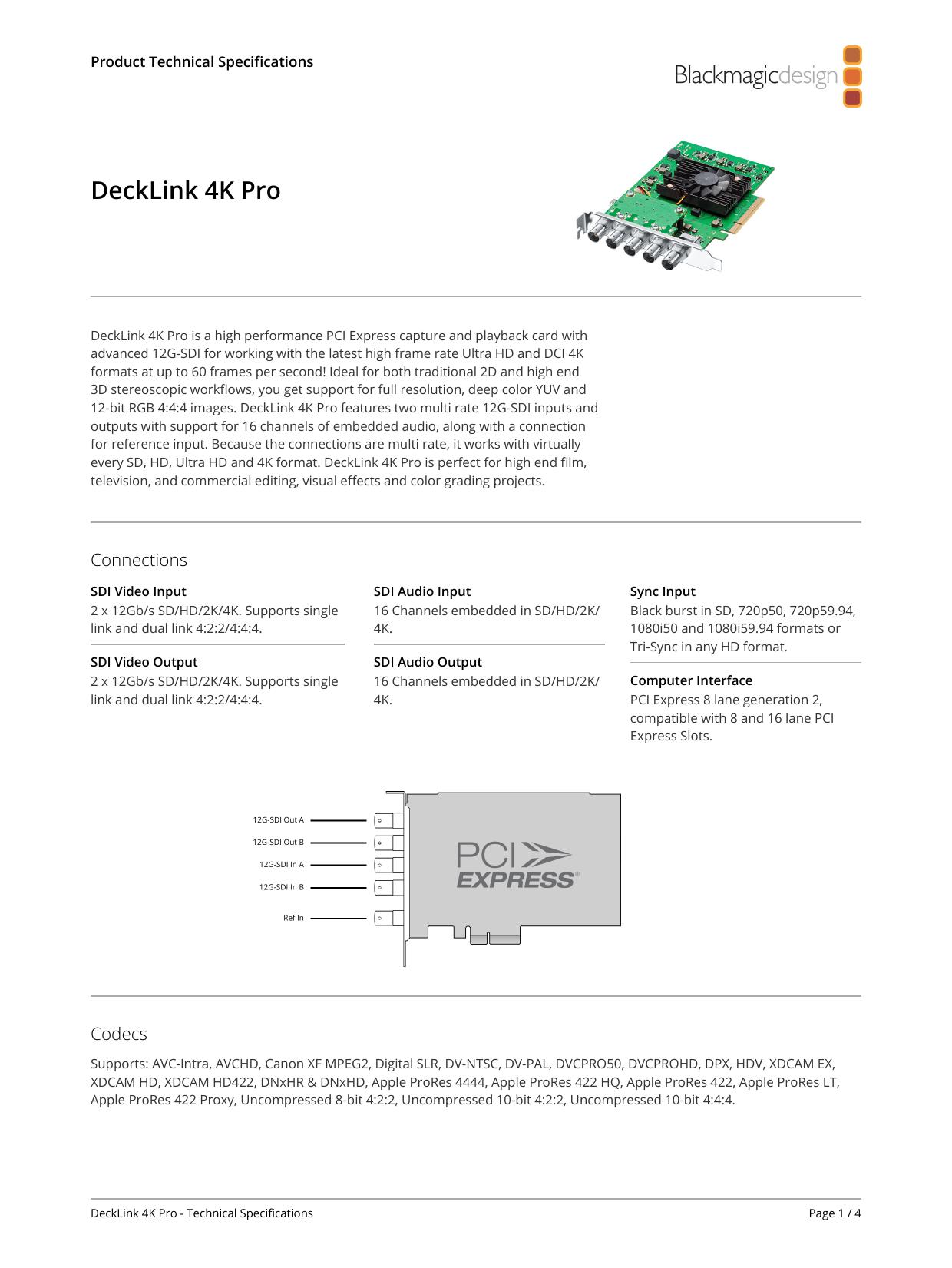 Blackmagic Design Decklink Tech Specs Ring Net Manualzz