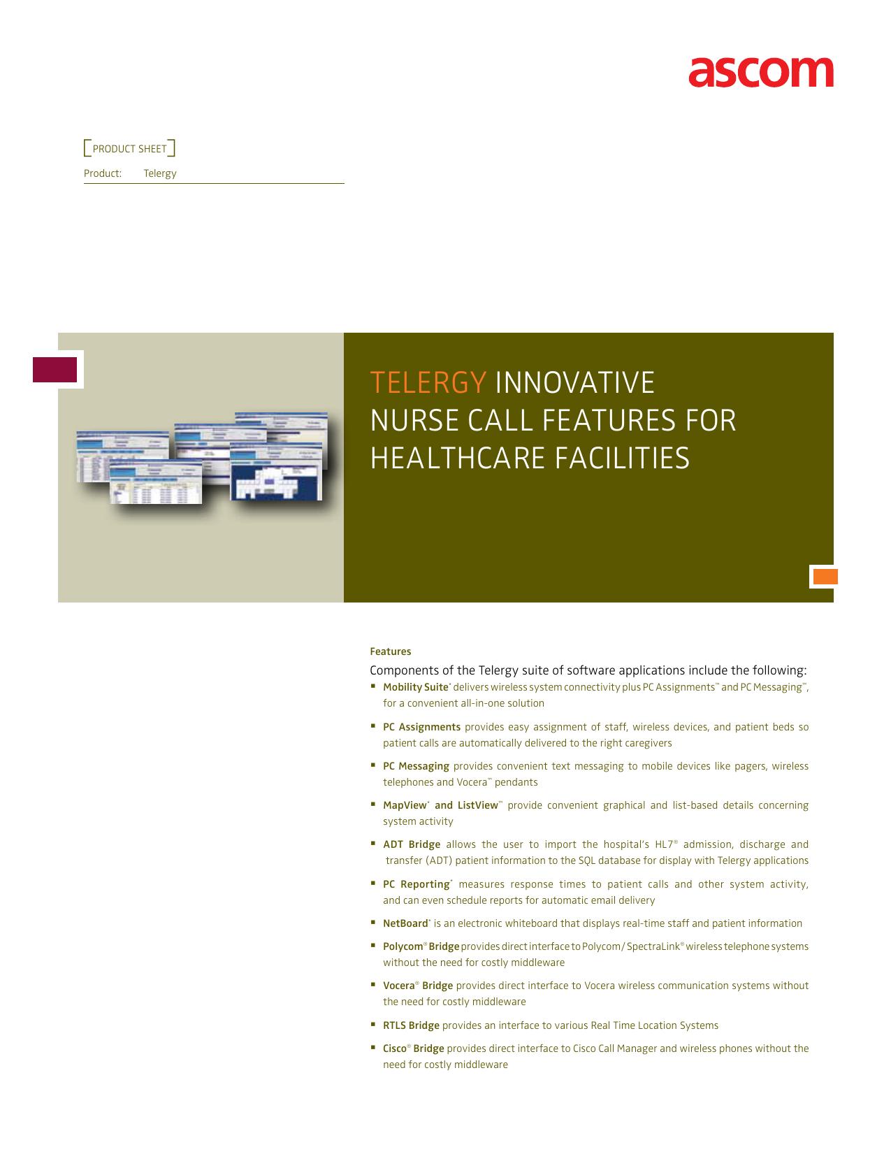 tElErgy InnovatIvE nurSE call fEaturES for HEaltHcarE