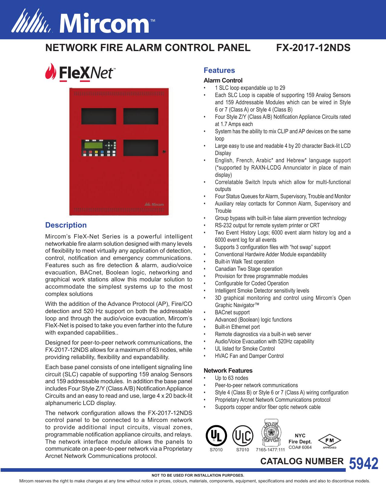 network fire alarm control panel fx-2017