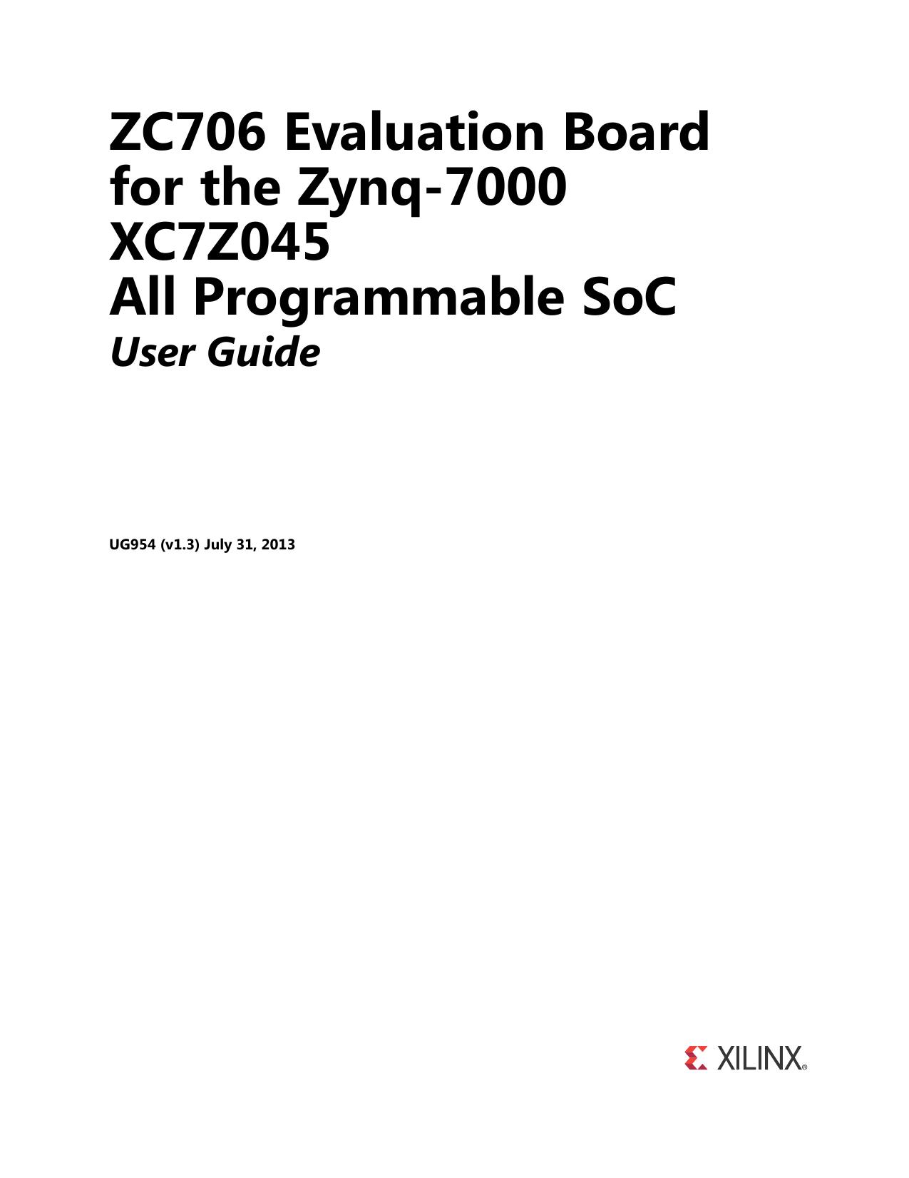 Xilinx UG954 ZC706 Evaluation Board for the Zynq | manualzz com