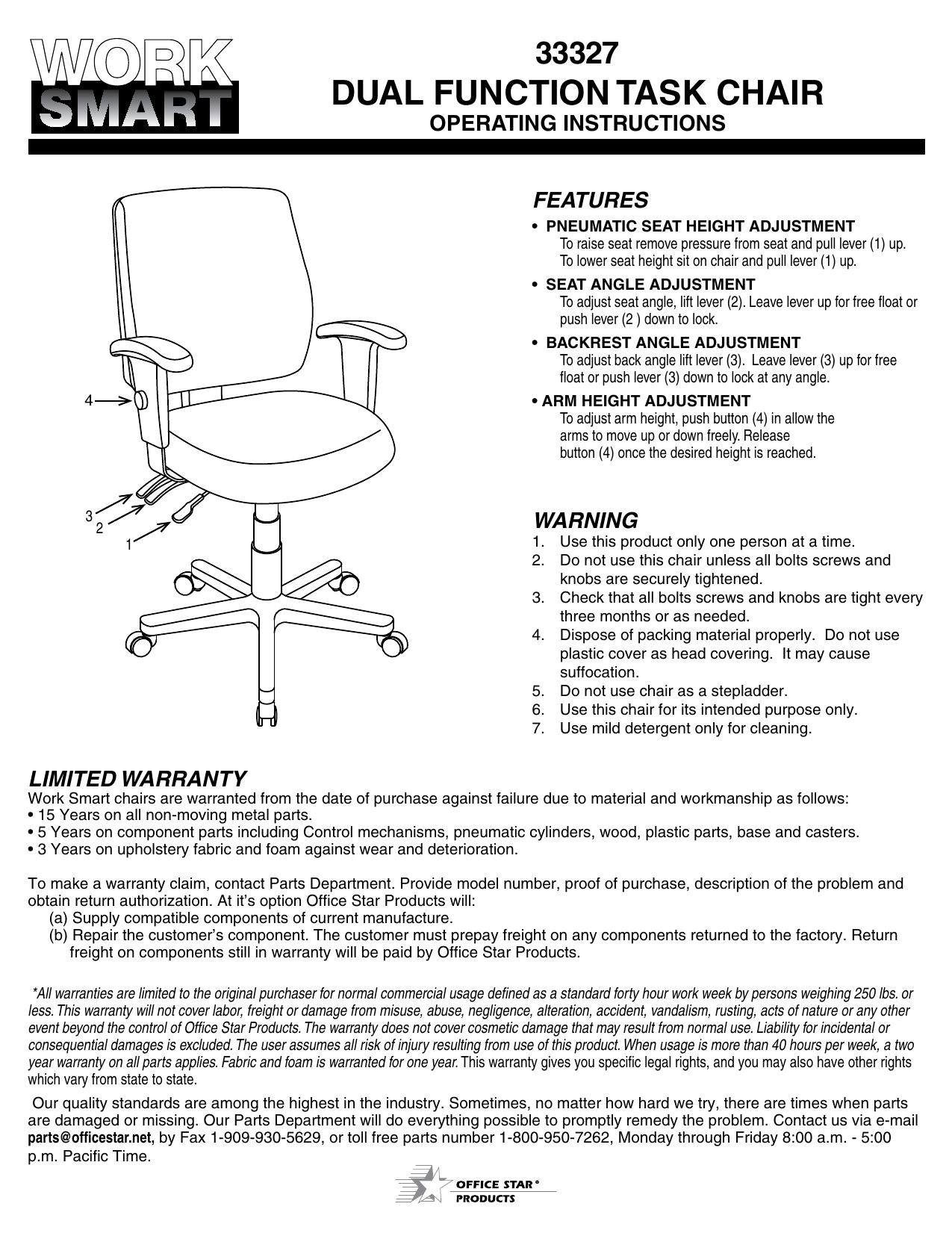 33327 Dual Function Task Chair Manualzz
