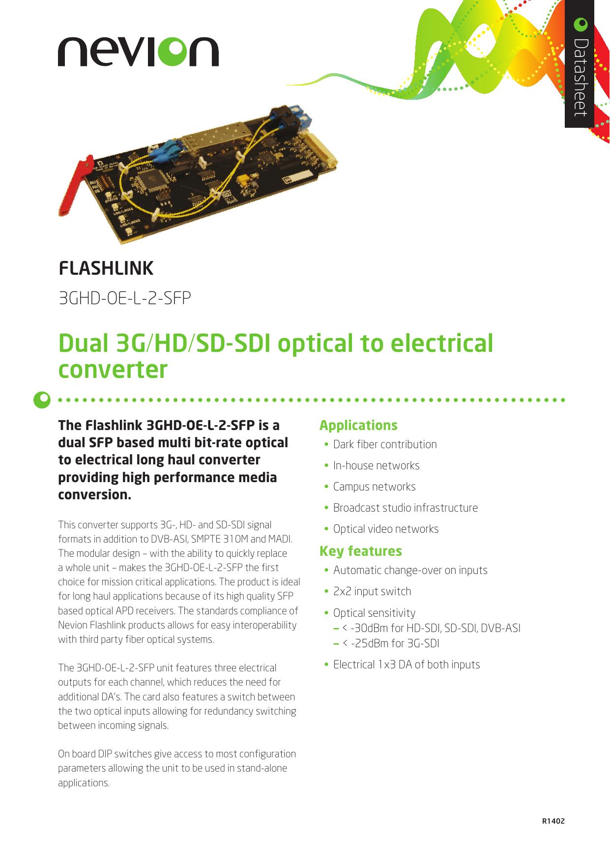 Dual 3G/HD/SD-SDI optical to electrical converter | manualzz com