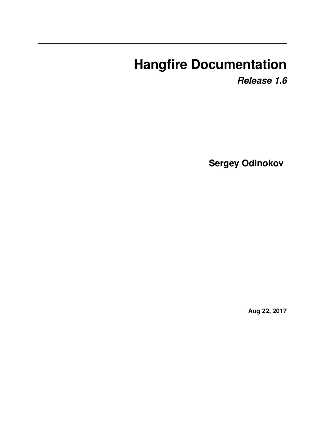 Hangfire Documentation | manualzz com