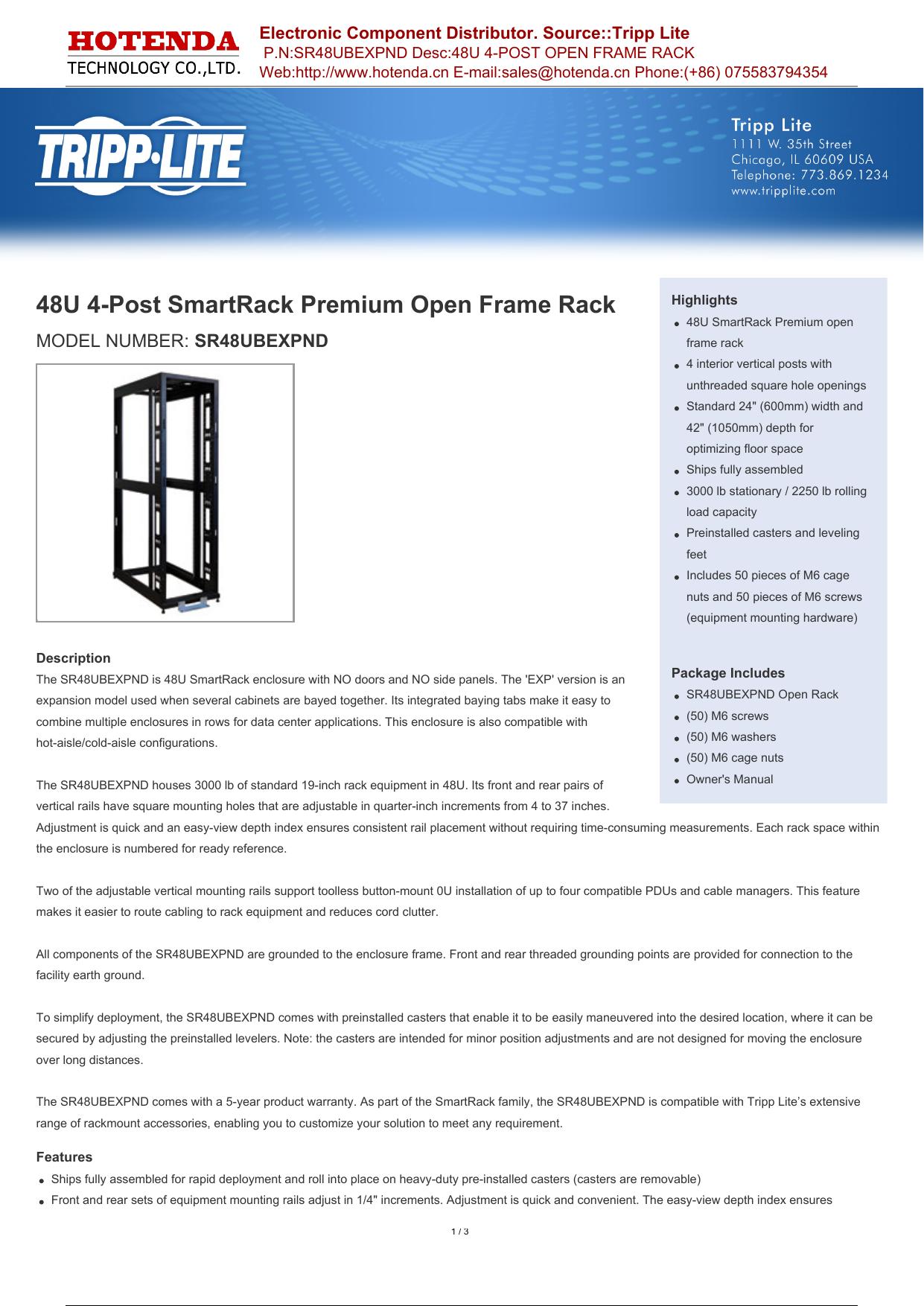 48U 4-Post SmartRack Premium Open Frame Rack   manualzz com