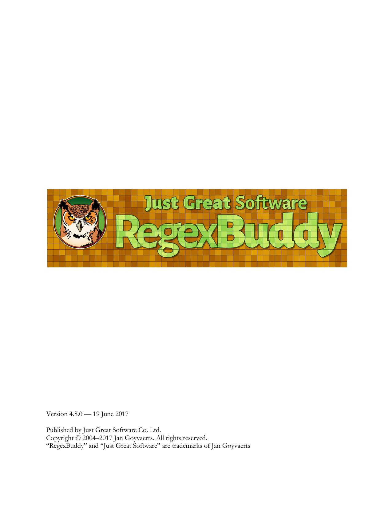 RegexBuddy manual in PDF format | manualzz com