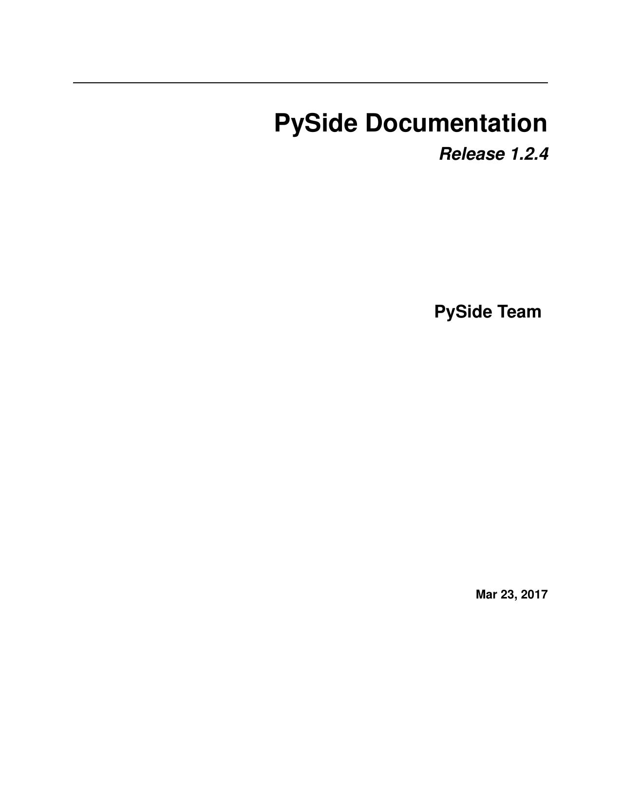 PySide Documentation | manualzz com