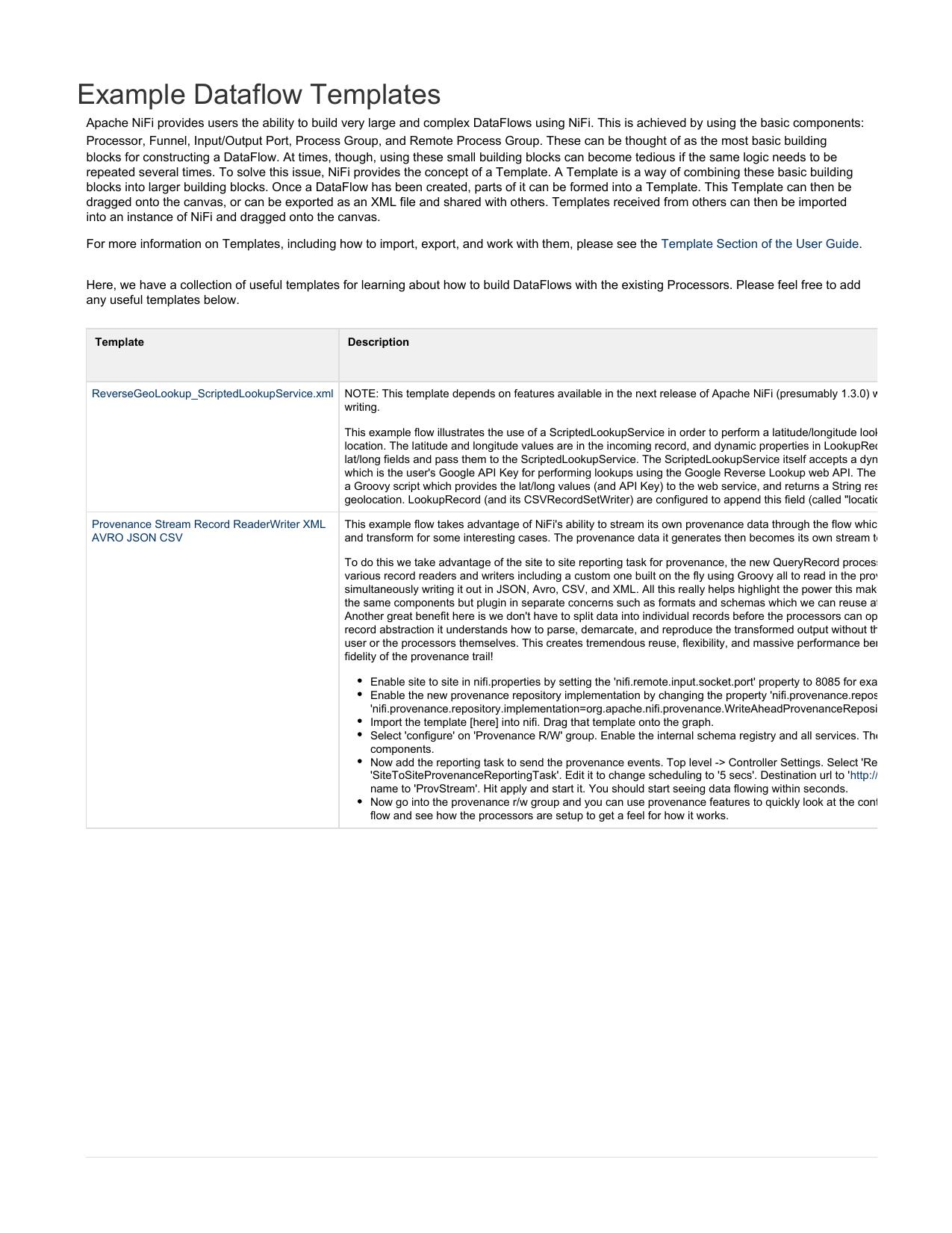 Example Dataflow Templates | manualzz com