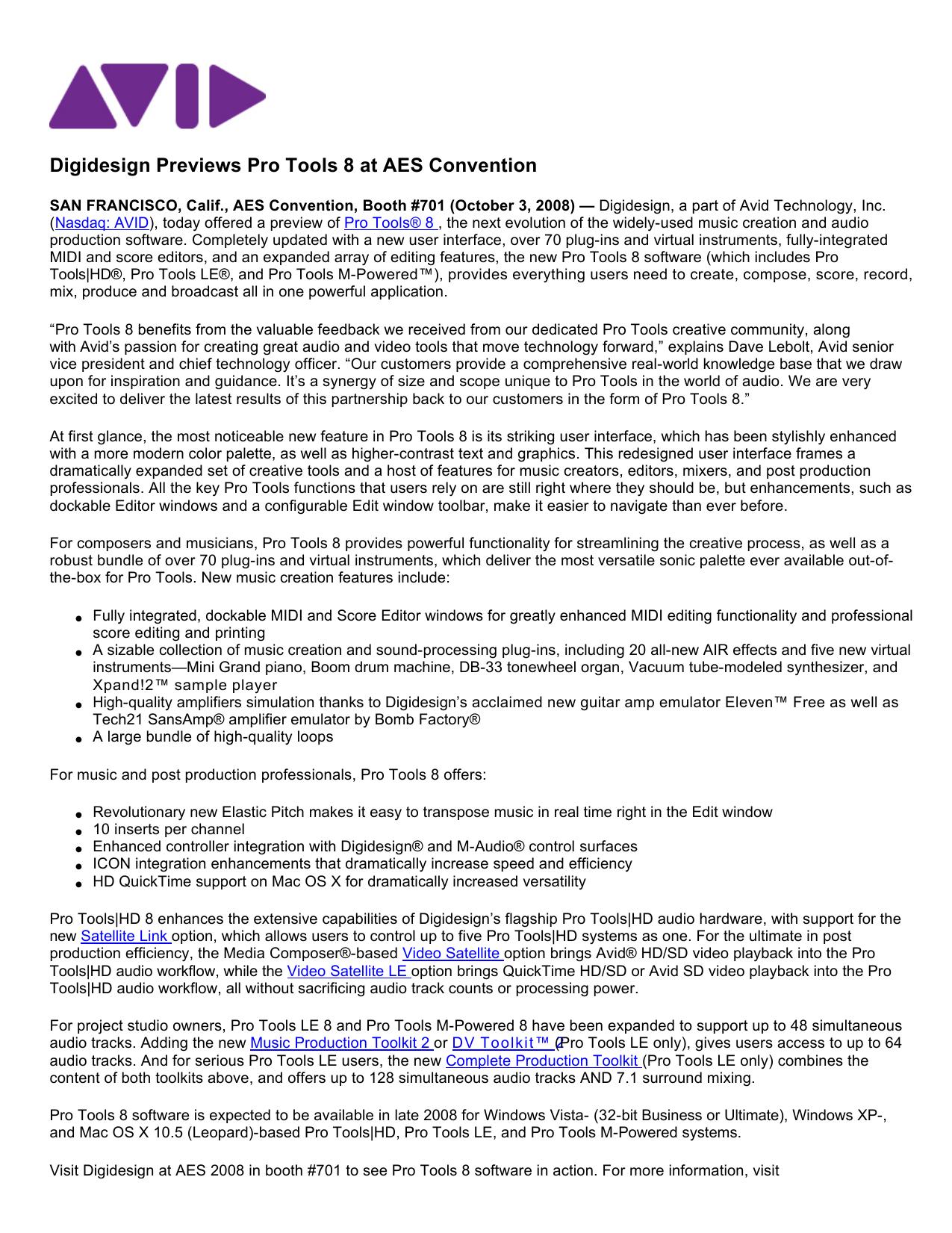 Digidesign Previews Pro Tools 8 at AES Convention | manualzz com
