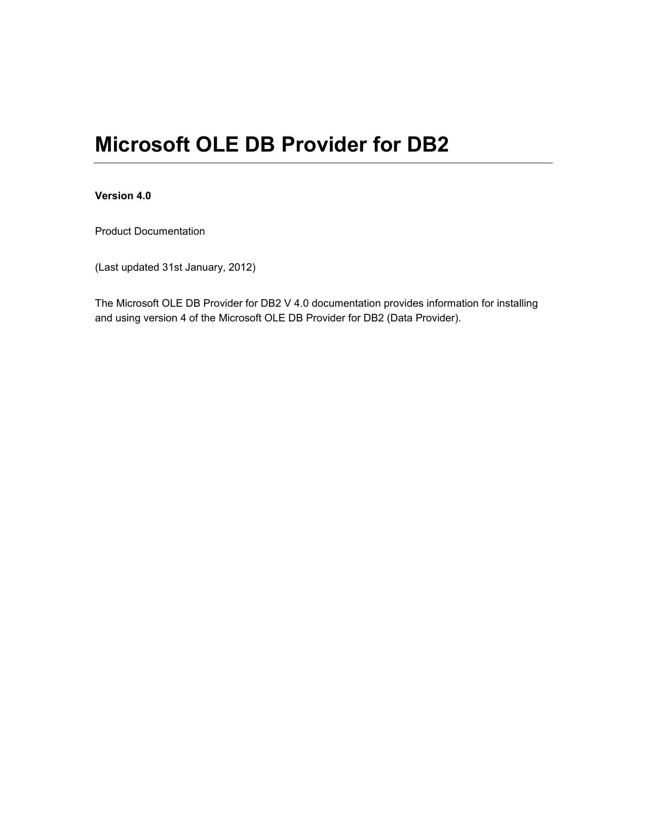 Microsoft OLE DB Provider for DB2 | manualzz com