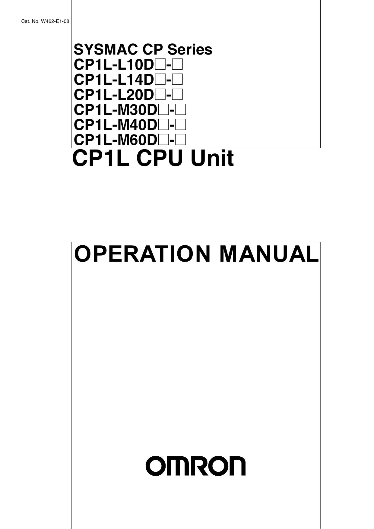 SYSMAC CP Series CP1L CPU Unit OPERATION MANUAL   manualzz com