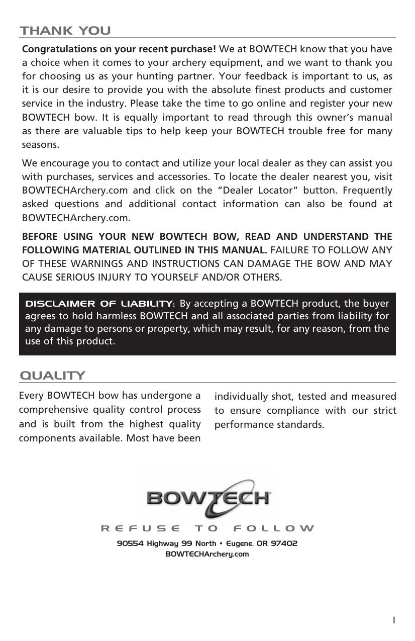 Manual - Bowtech Archery   manualzz com