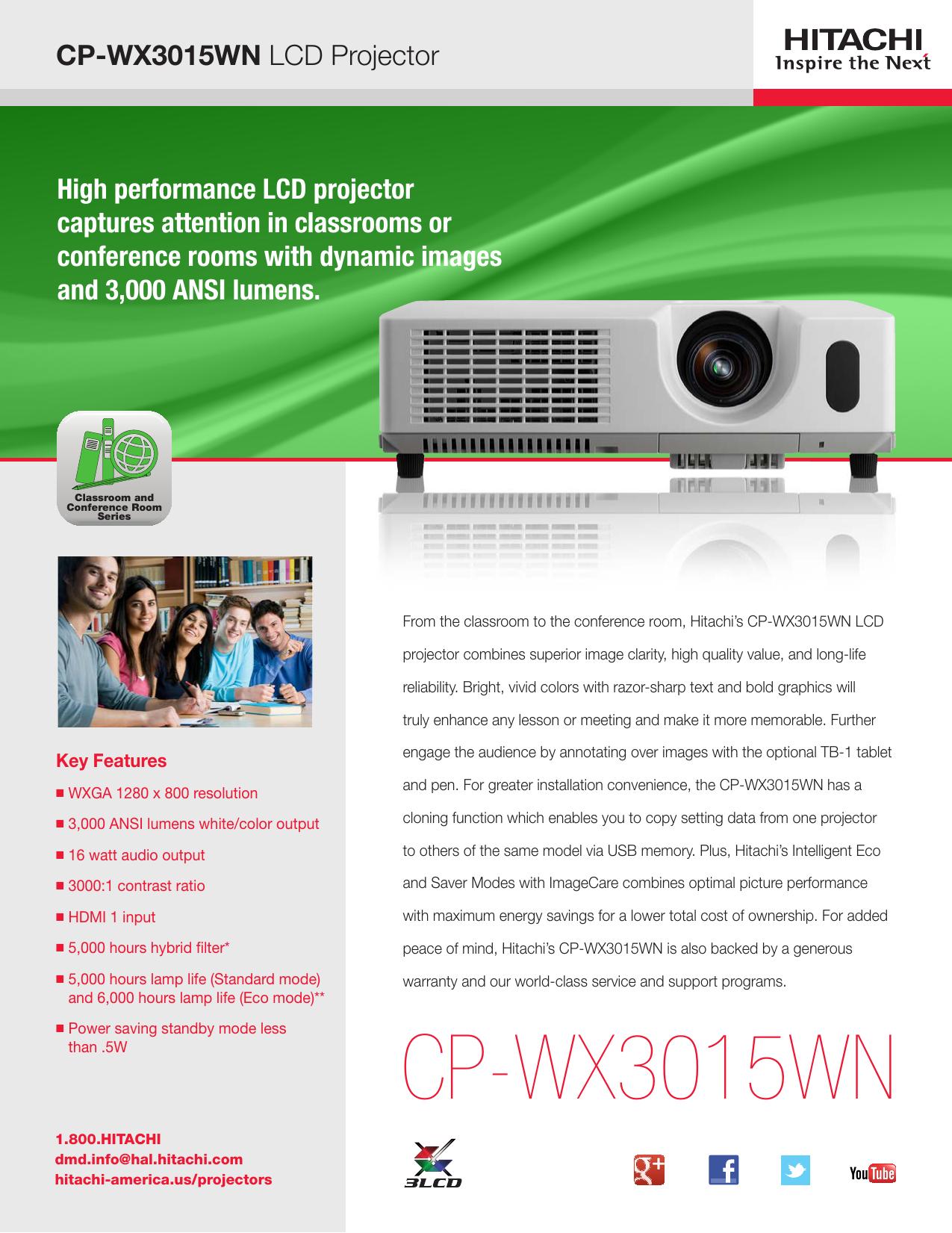Hitachi Projector Lamp Part DT01371 MU06481 Model Hitachi CP CP-X3015WN