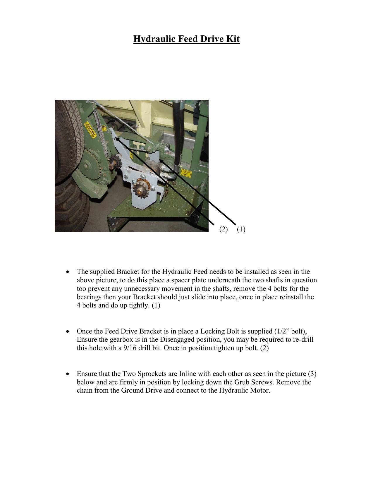Hydraulic Feed Drive Kit   manualzz com