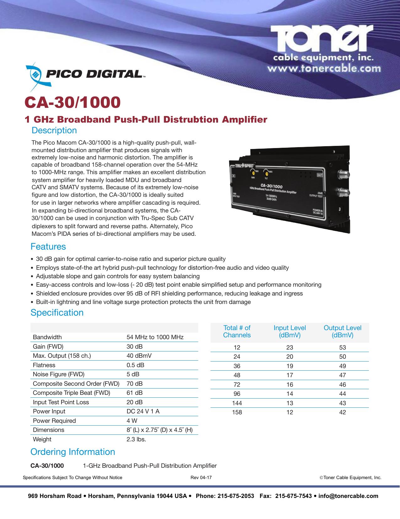 Pico Macom CA-30RK550-550MHZ Push-Pull Head End Amplifier