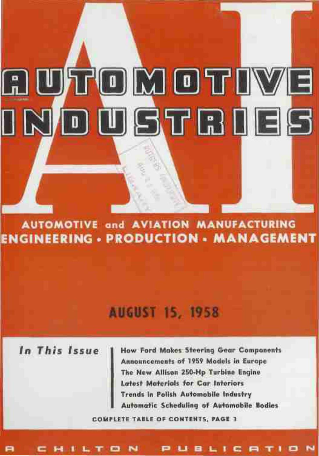 august 15, 1958 - Automotive Industries | manualzz com