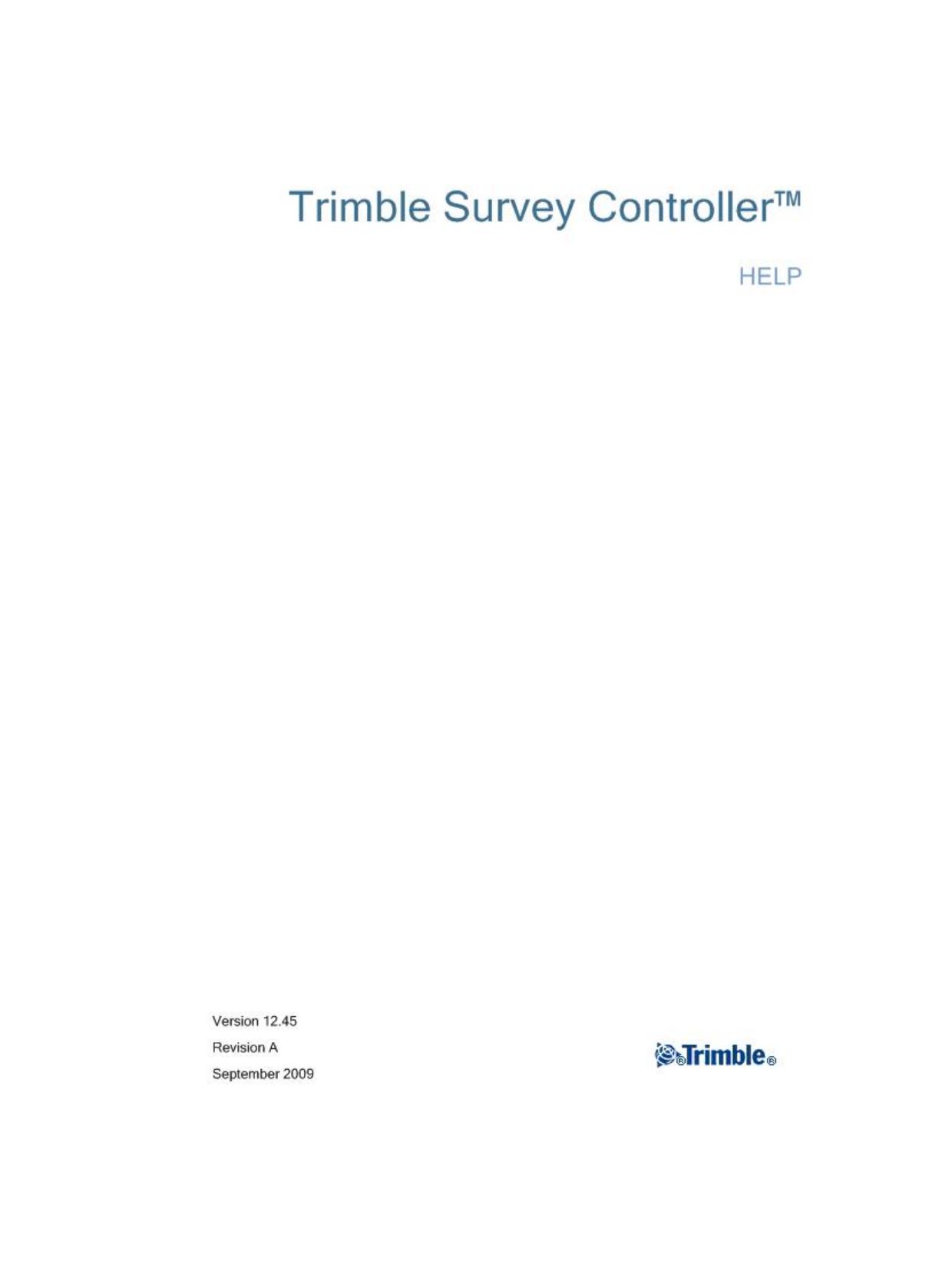 Trimble Survey Controller software v12 45 Help File ()   manualzz com