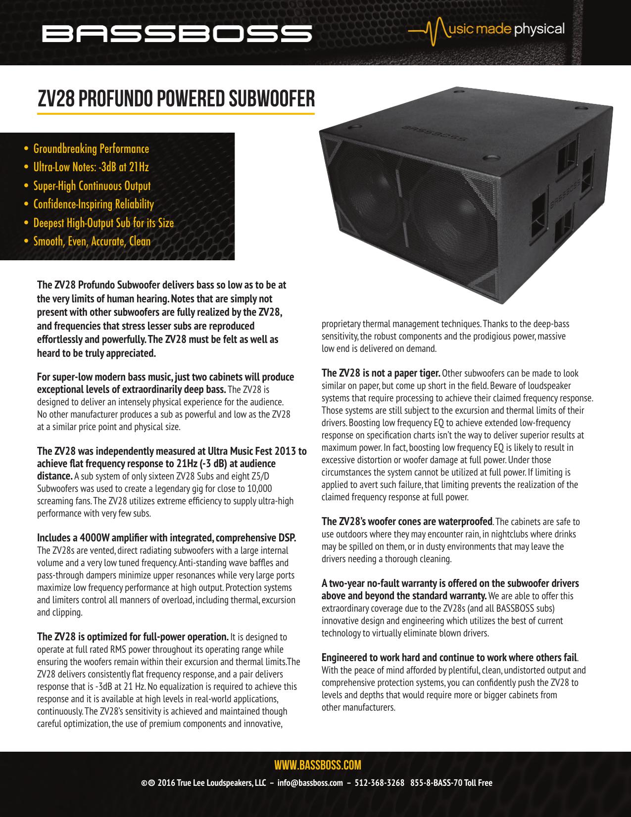BASSBOSS ZV28 Powered Subwoofer Cutsheet | manualzz com