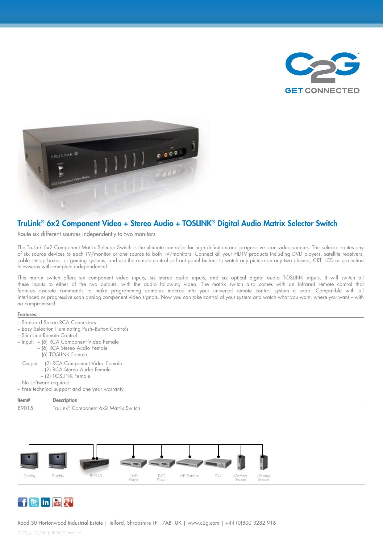 TruLinkR 6x2 Component Video Stereo Audio ToSLinkR Digital