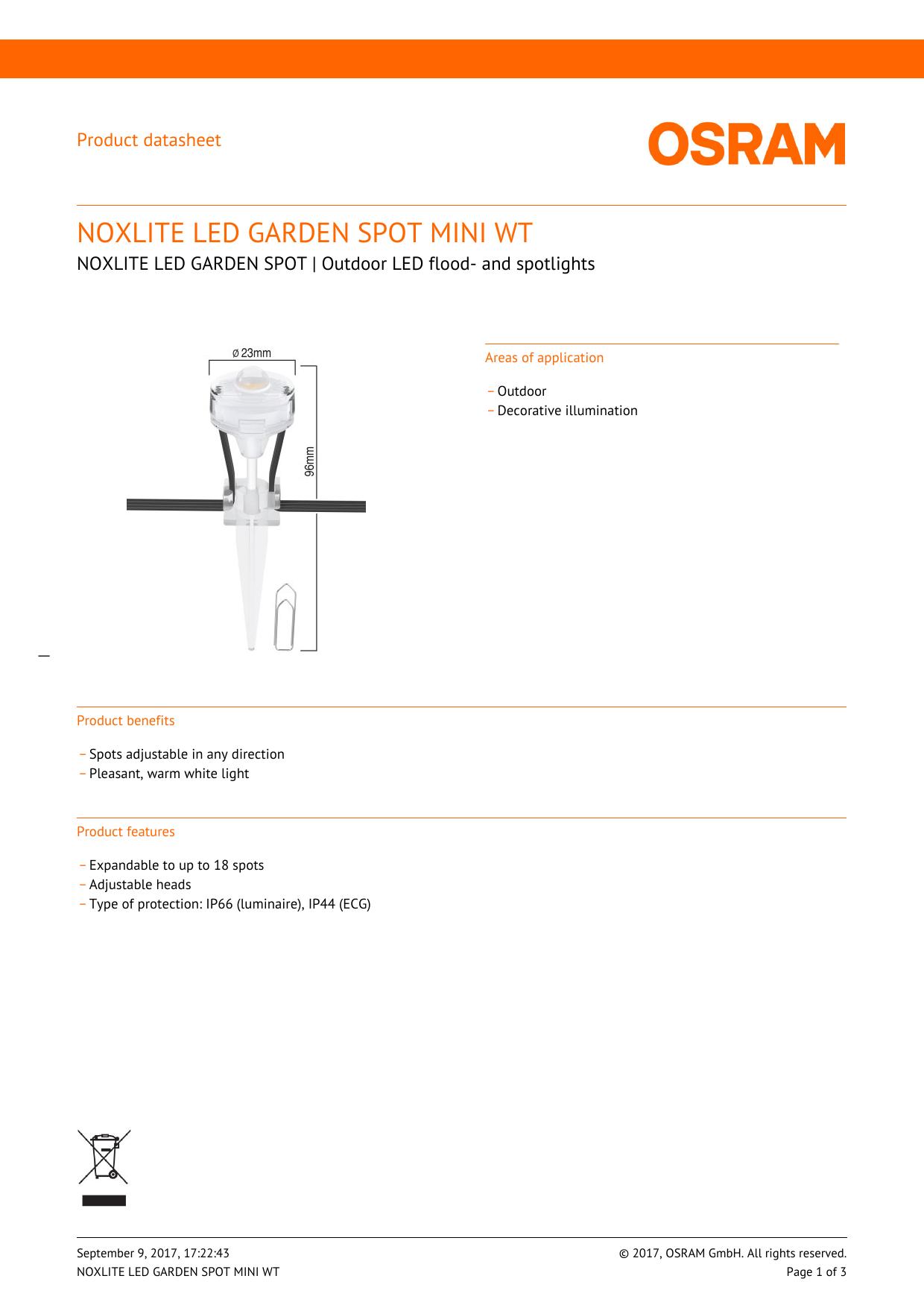 noxlite led garden spot mini wt | manualzz com
