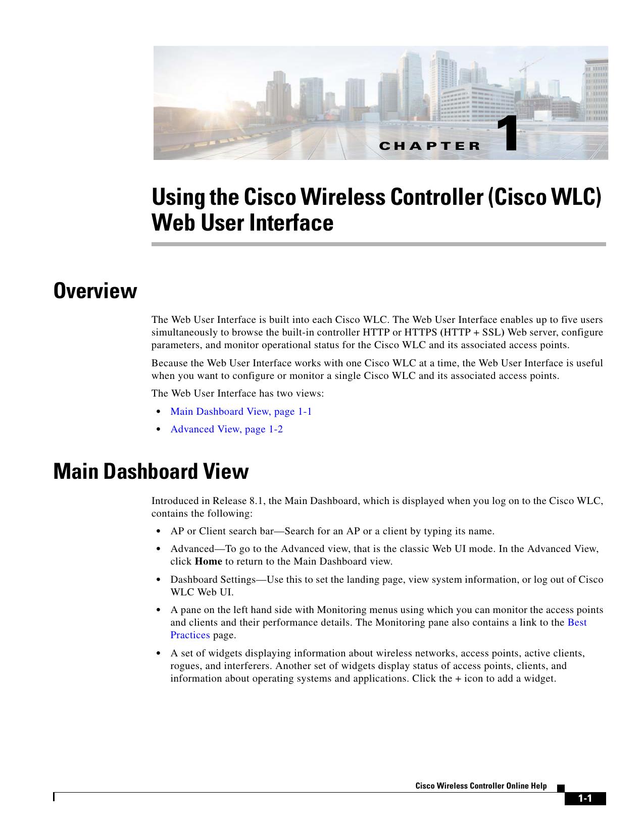 Cisco Wireless Controller Online Help, Release 8 1
