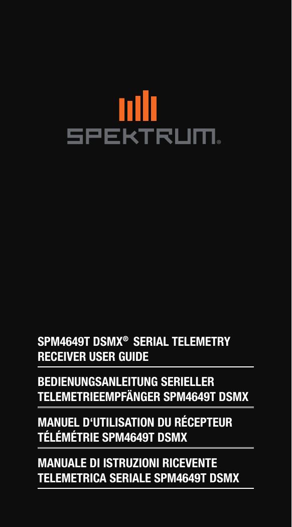 Spektrum SPM4649T Telemetry Receiver - Manual | manualzz com