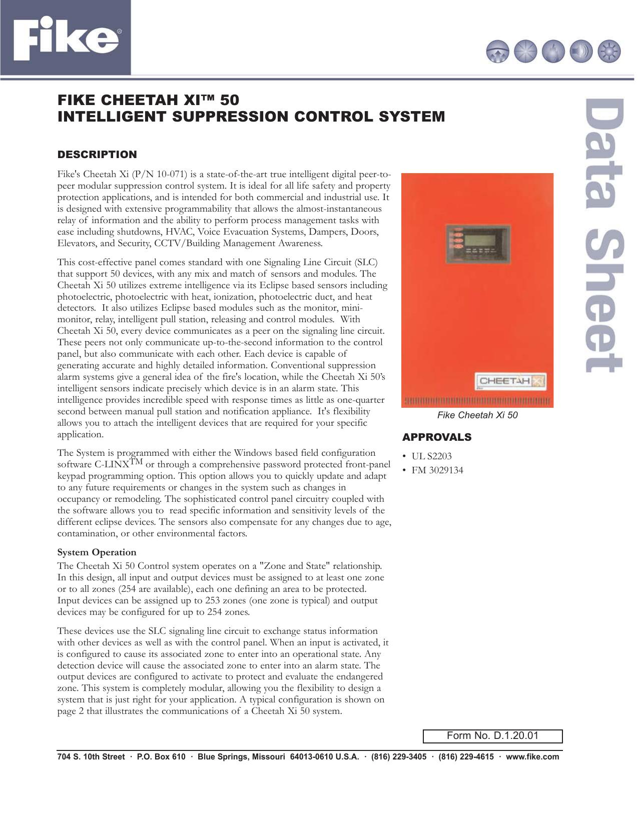 Cheetah Xi-50 Intelligent Suppression Control System D 1.20.01 |  manualzz.com