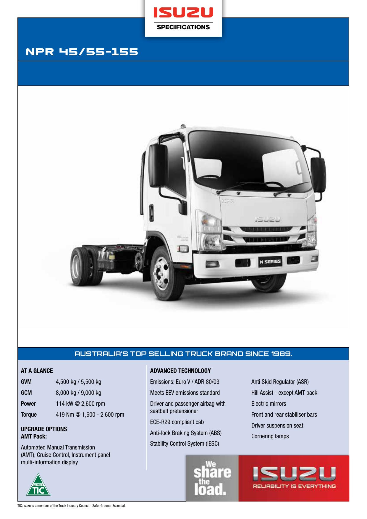 NPR 45/55-155 - Isuzu Trucks | manualzz com