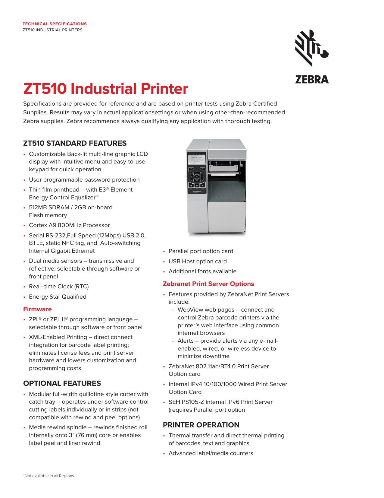 ZT510 Industrial Printer | manualzz com