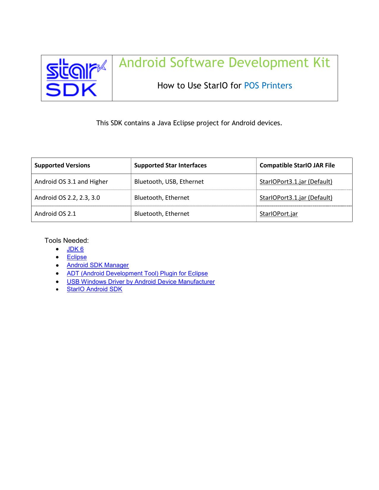 StarIO SDK -POS Printer- for Android | manualzz com