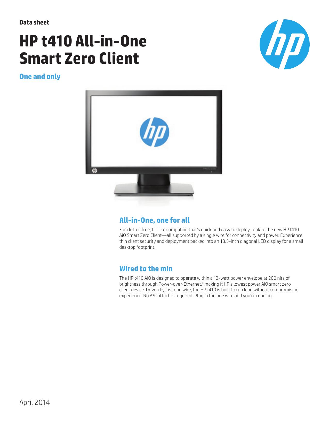 HP t410 All-in-One Smart Zero Client   manualzz com