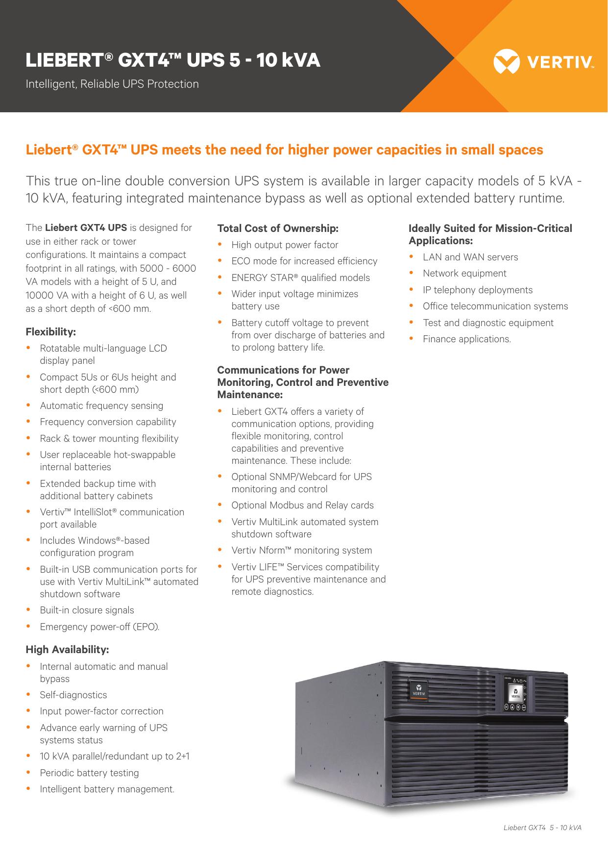 LIEBERT® GXT4™ UPS 5 - 10 kVA | manualzz com