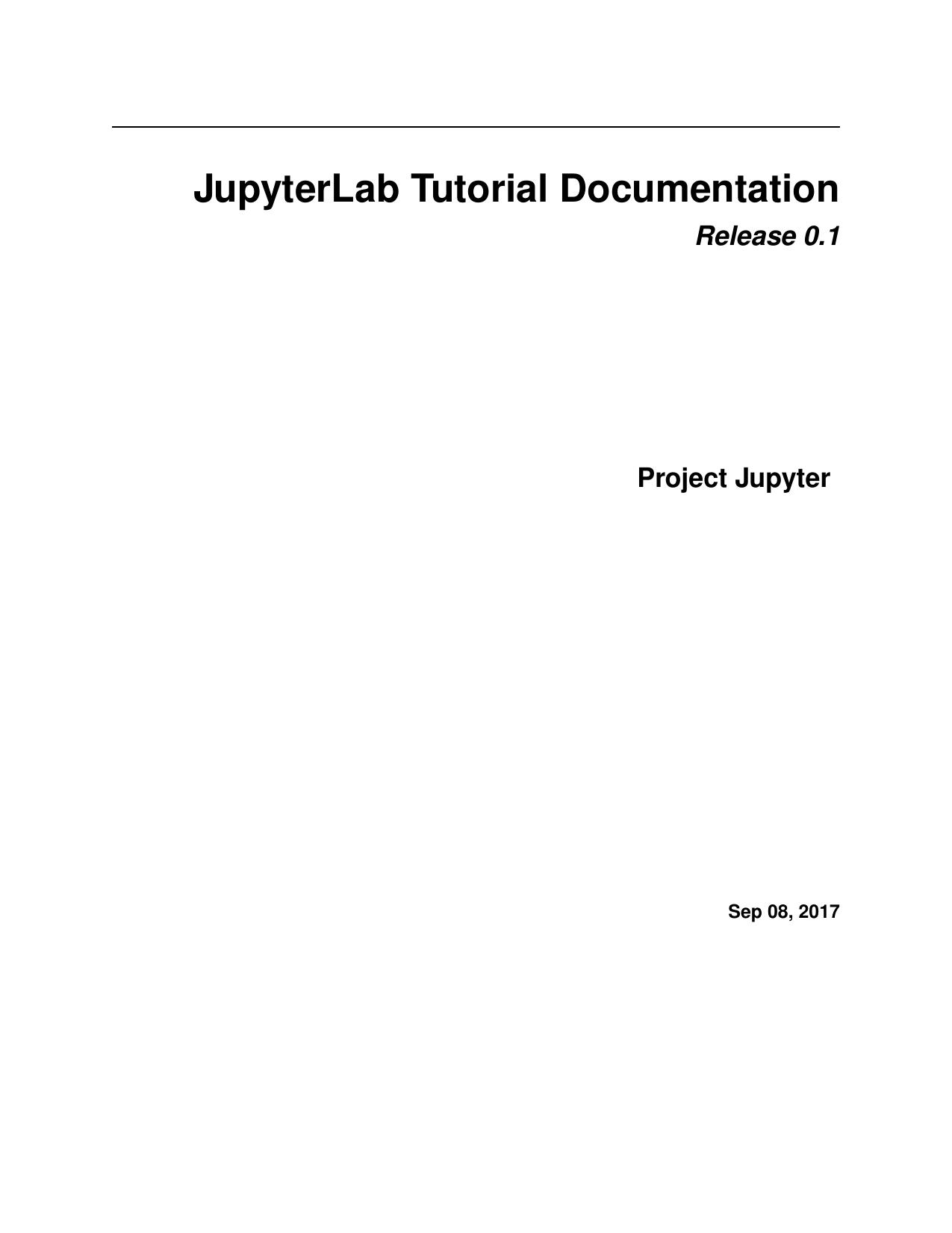 JupyterLab Tutorial Documentation | manualzz com
