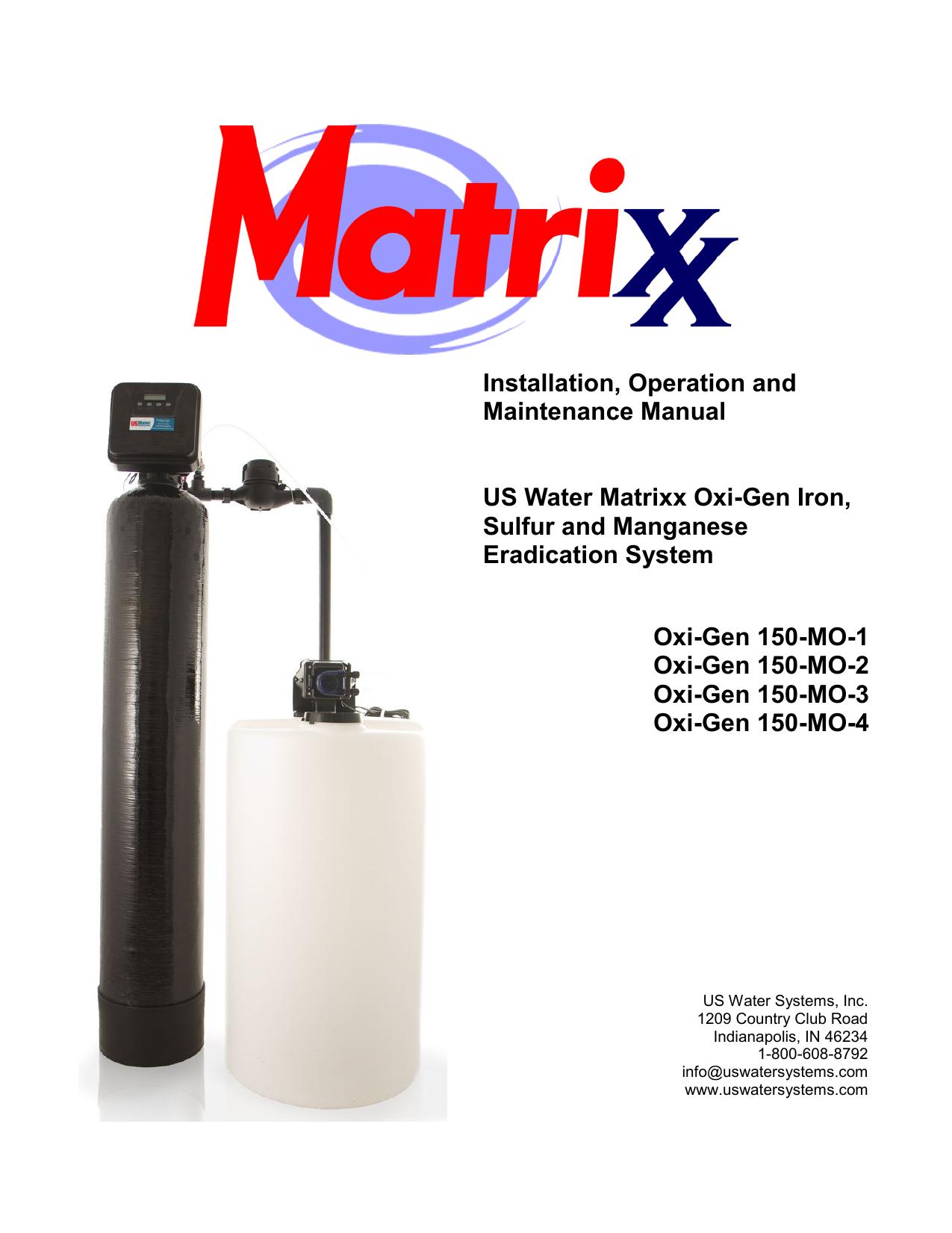 Installation, Operation and Maintenance Manual US Water Matrixx