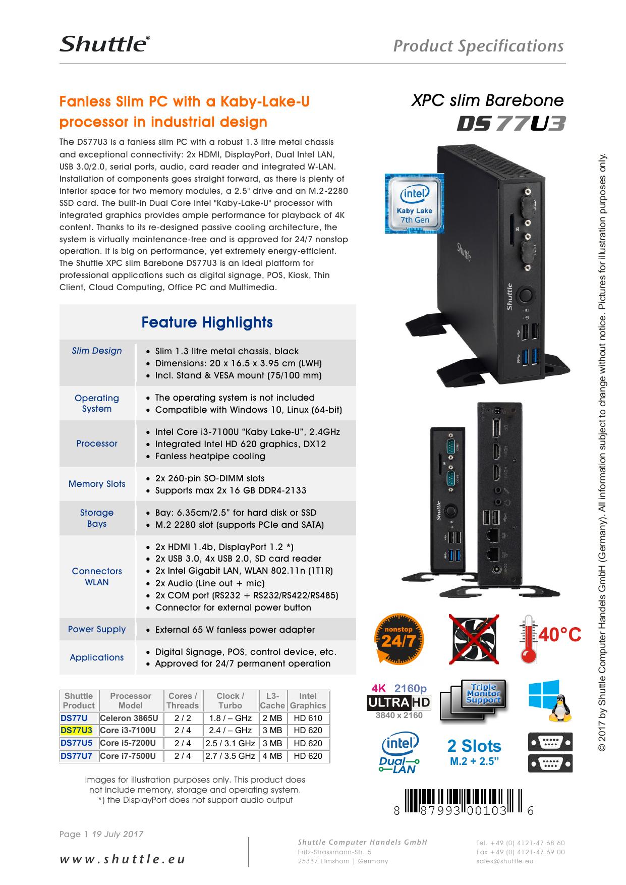 Specifications DS77U3 | manualzz com