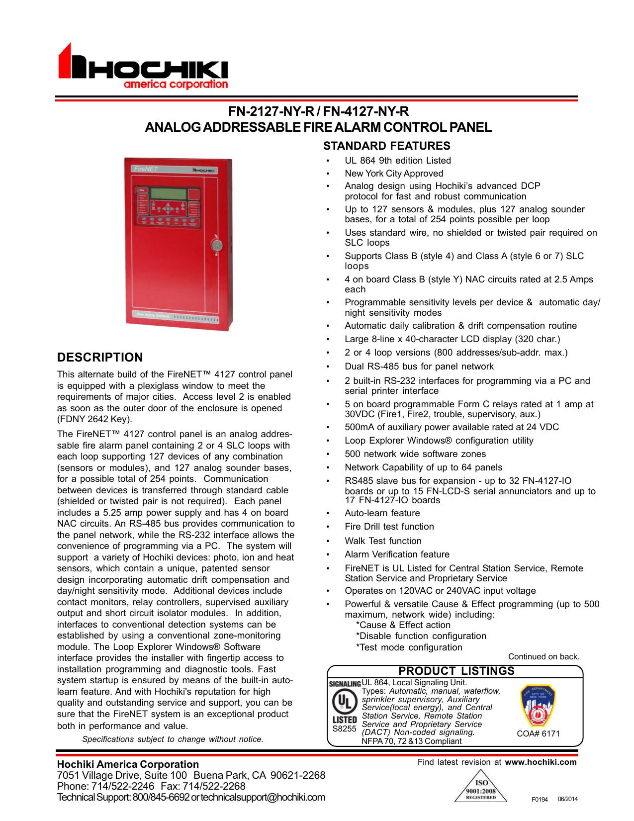 Fn 2127 Ny R Fn 4127 Ny R Analog Addressable Manualzz Com