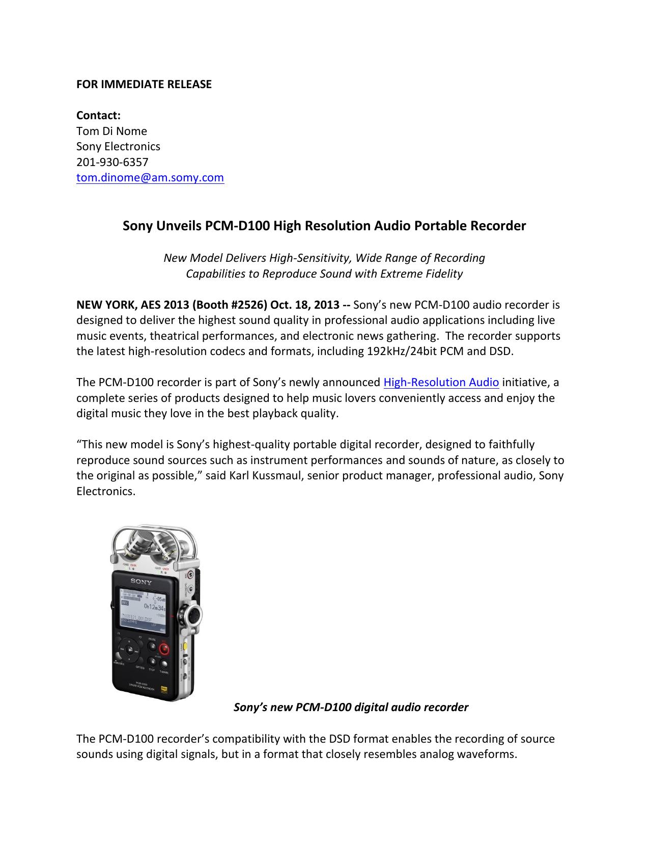 Sony Unveils PCM-D100 High Resolution Audio Portable