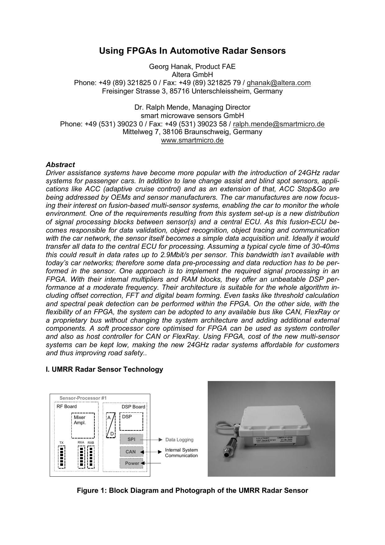 Using FPGAs In Automotive Radar Sensors | manualzz com
