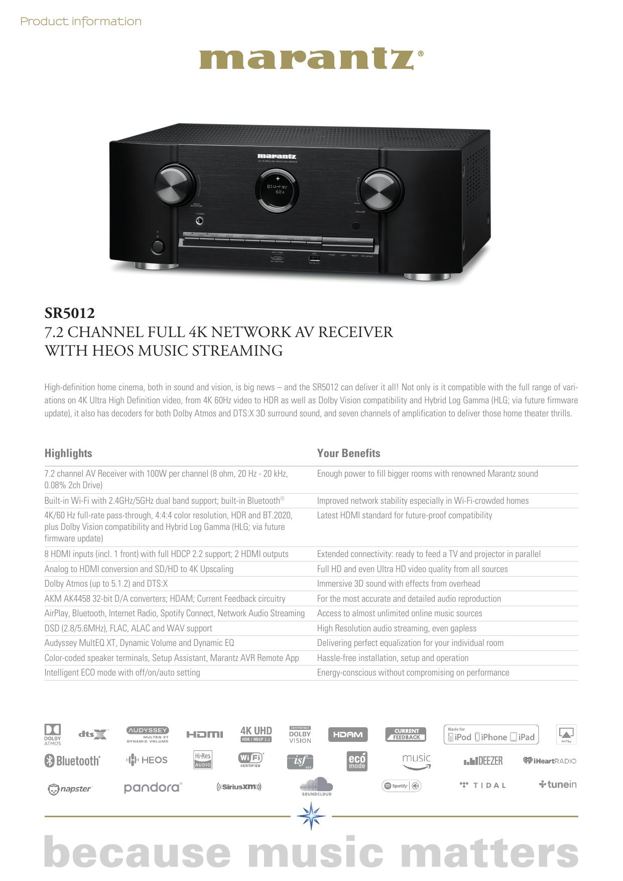 sr5012 7 2 channel full 4k network av receiver with heos music