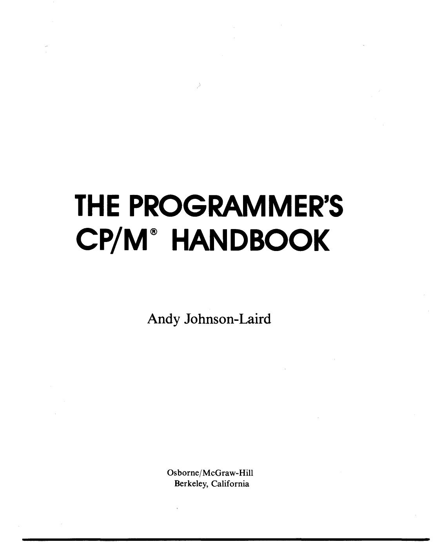 Programmers CPM Handbook by Andy Johnson-Laird | manualzz com