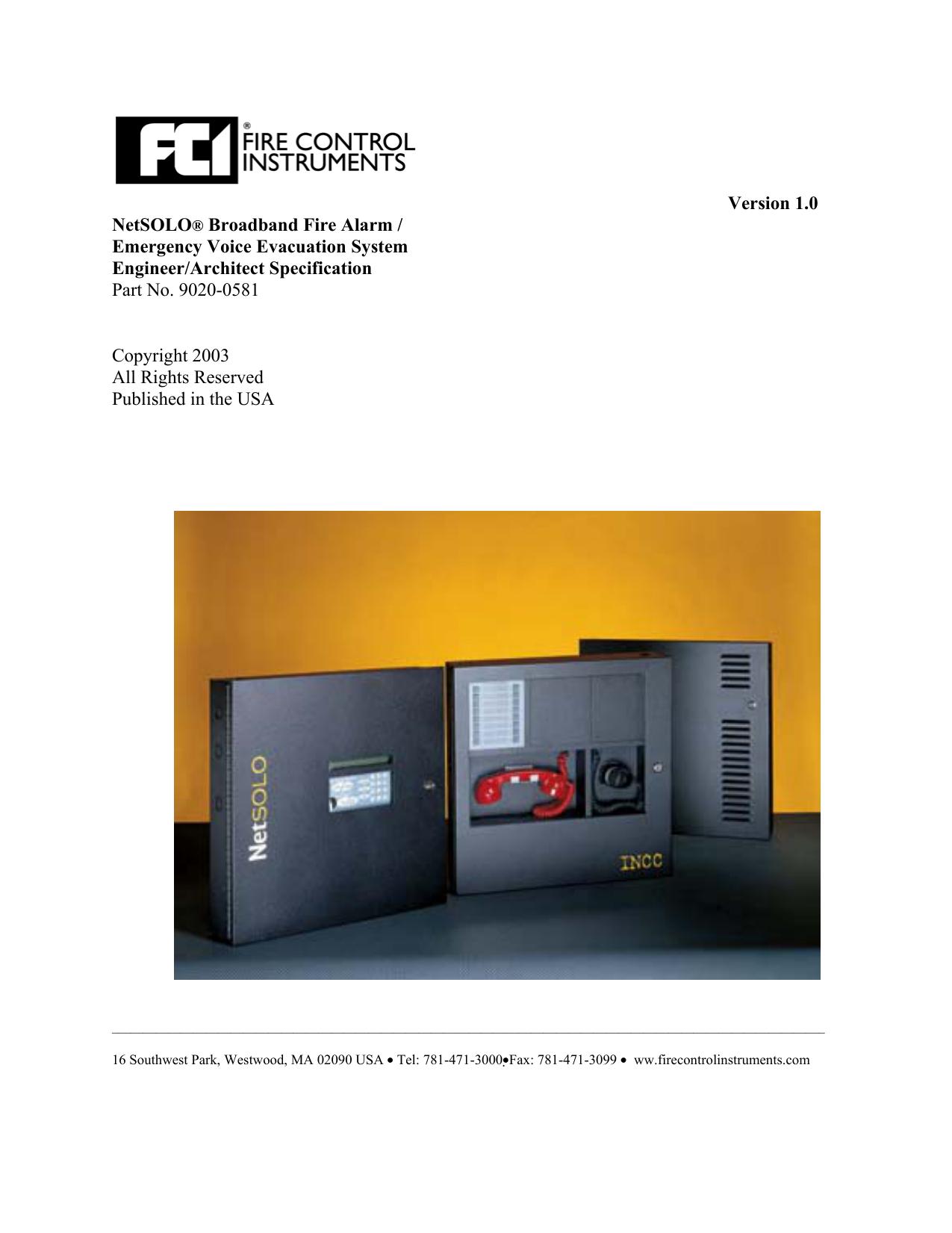 Version 1.0 NetSOLO® Broadband Fire Alarm - Gamewell-FCI ... on