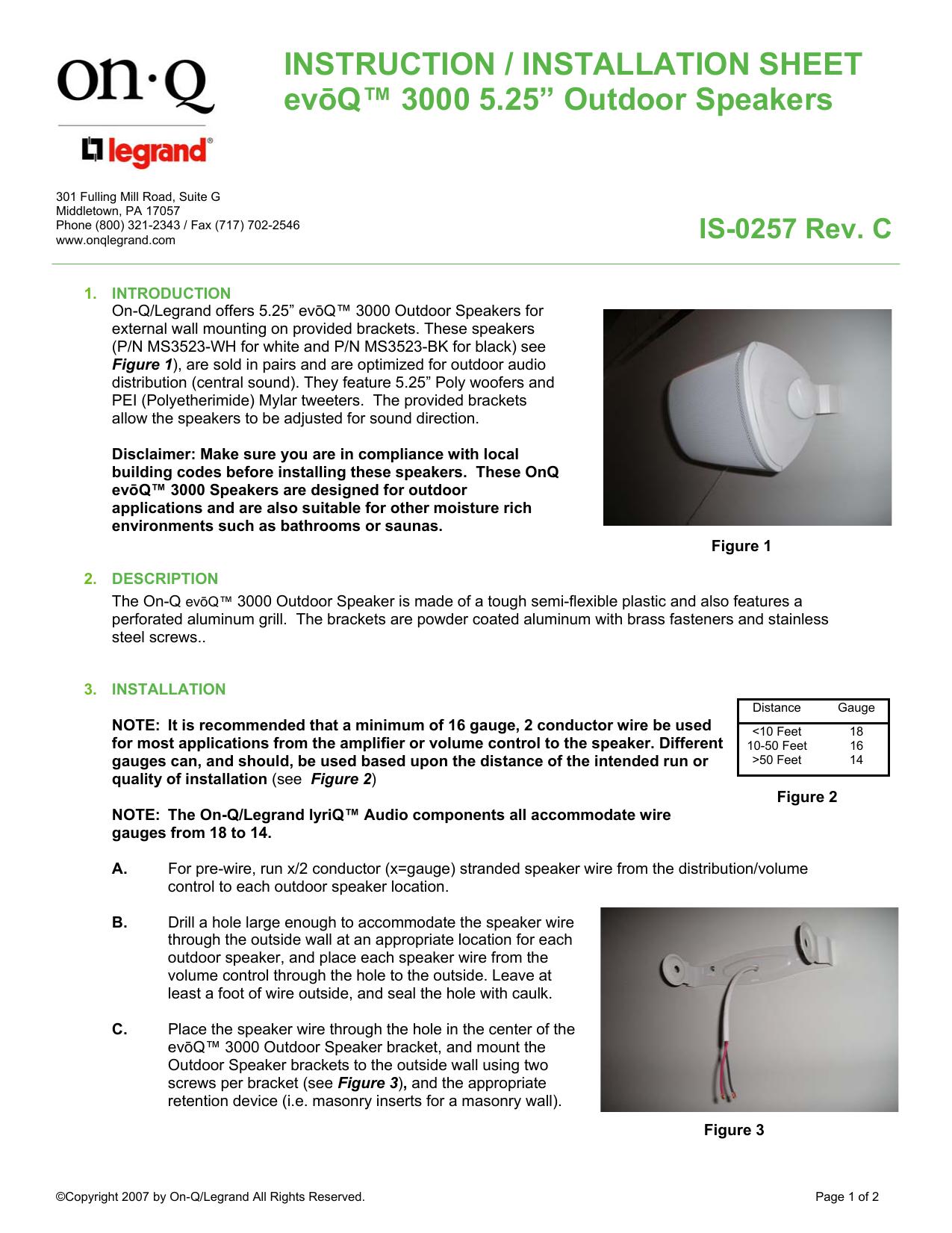 Outdoor Speaker Wire Installation   Instruction Installation Sheet Evōq 3000 Manualzz Com