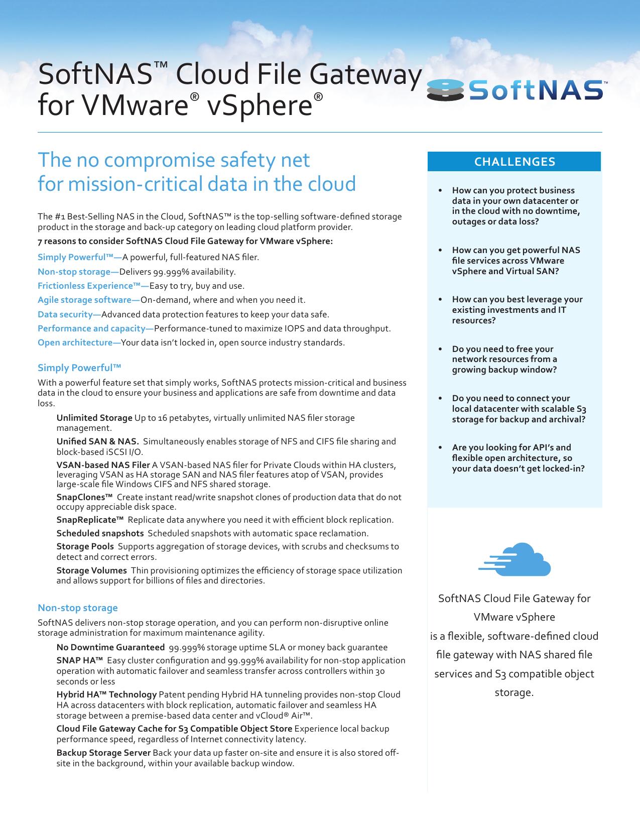 SoftNAS™ Cloud File Gateway for VMware® vSphere® | manualzz com