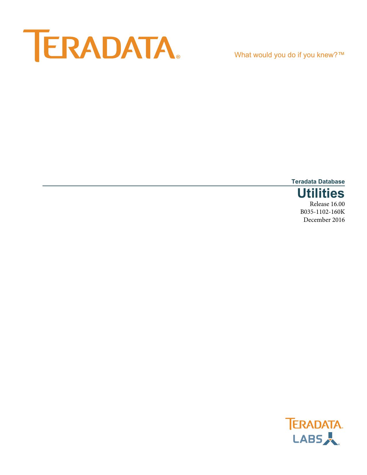 Utilities - Teradata Documentation | manualzz com