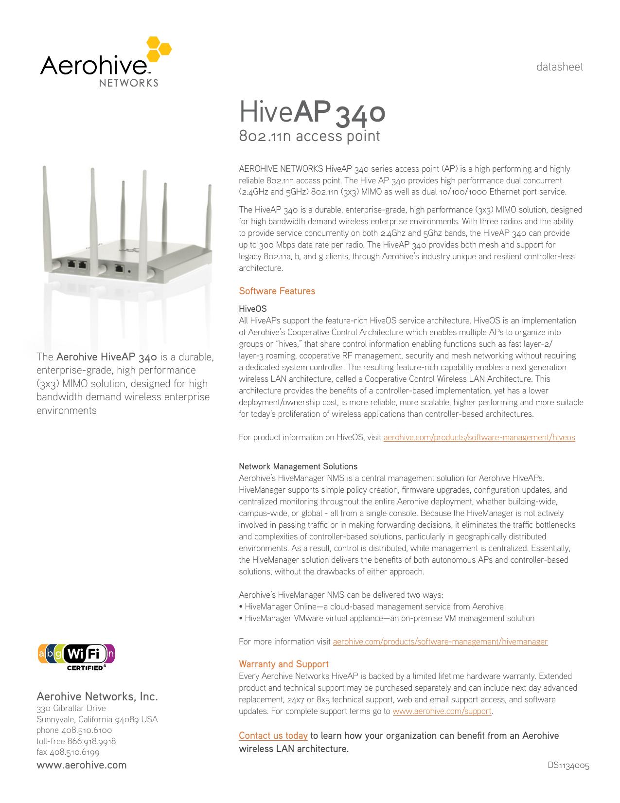 Datasheet HiveAP-340-Access | manualzz com