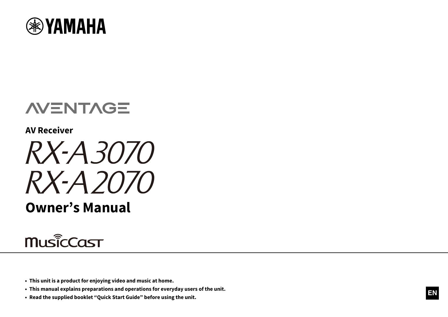 Yamaha RX-A3070 Owner's manual | manualzz com
