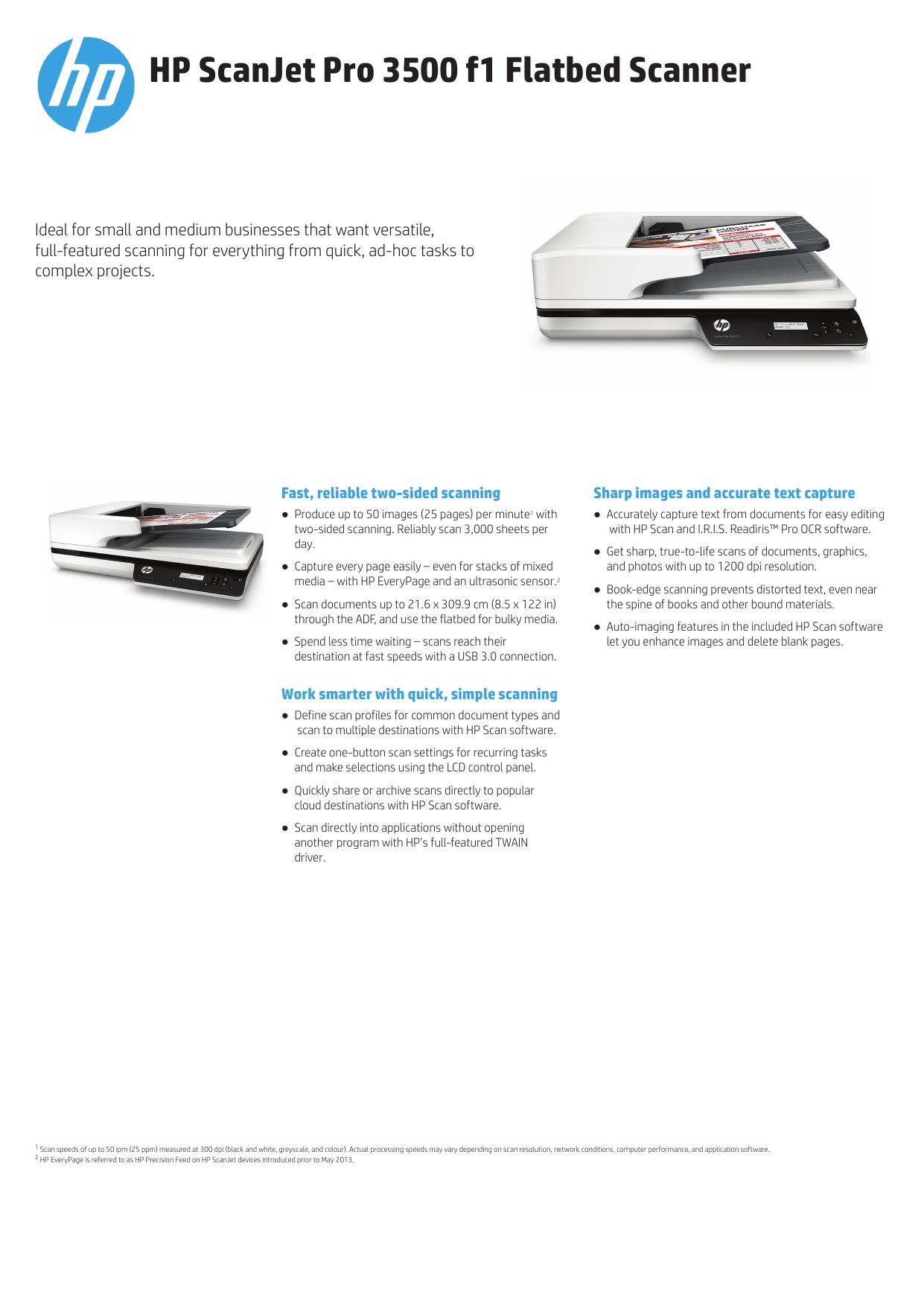 HP ScanJet Pro 3500 f1 Flatbed Scanner | manualzz com